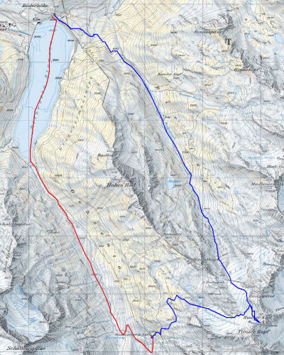 Karte 1: Tag 1 (Bieler Höhe - Wiesbadener Hütte: rot) Tag 9 (Rauhekopfscharte - Bieler Höhe: blau)