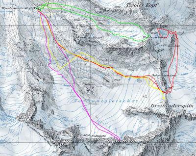 Karte 2: Tag 2 (Ochsenscharte/Tirolerscharte: rot) Tag 3 (Tirolerscharte: grün) Tag 6 (Ochsenscharte: gelb) Tag 7 (Piz Mon)