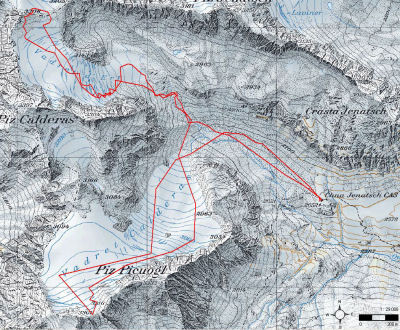 Karte 3: Tag 4 (Piz d'Err, Tschima da Flix)