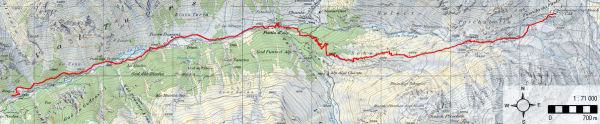 Karte 4: Tag 5 (Fuorcla Vedutta - Val Mux - Bergün)