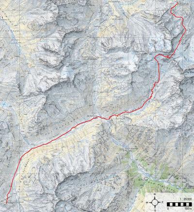 Karte 7: Tag 8 (Fuorcla Vallorgia - Chamanna Grialetsch)