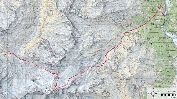 Karte 8:Tag 9 (Piz Sarsura - Val Sarsura - Zernez)