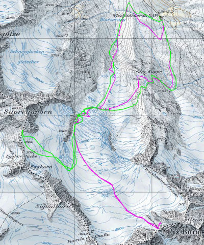 Karte 3: Tag 4 (Piz Buin: violett) Tag 8 (Silvrettahorn: grün)