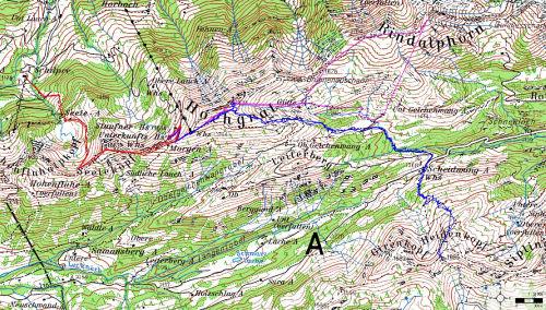 (1) Hochgrat/Rindalphorn (violet), (2) Seelekopf (rot), (3) Heidenkopf (blau)
